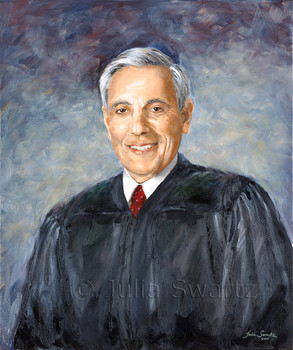 Oil painting of Judge Michael Georgelis by Julia Swartz