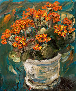 An orange Kalanchoe flower in a pot oil painting with palette knife by Julia Swartz.