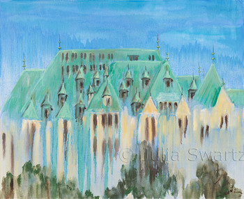 An oil painting of the La Citadelle De Quebec in old town Quebec City Canada by Julia Swartz