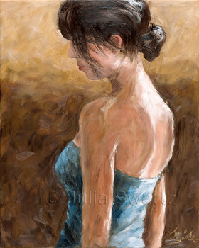 A portrait of a young lady in blue dress by Julia Swartz