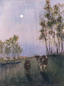 An impressionist oil painting of cows walking home with the moon shining by Julia Swartz Lancaster PA