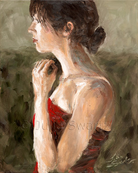 A Portrait of a young lady in red dress by Julia Swartz