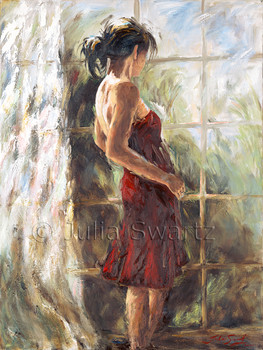An oil painting portrait of a young lady dressed in a red dress by Julia Swartz.