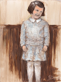 A portrait oil painting of Ruth, Julia's mother, Julia Swartz