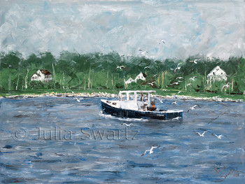 An impressionist oil painting of a Lobster boat checking the lobster traps of the coast of East Boothbay Maine by Julia Swartz, Lancaster PA.