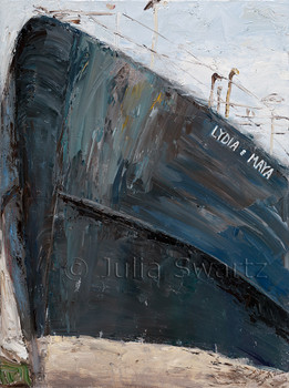Lydia & Maya is the name of a big boat in dry dock in Rose's dry dock in Gloucester MA. It was painted with oil on canvas.