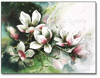 A watercolor painting of Magnolia flowers painted by Julia Swartz.