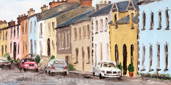 A landscape oil painting of the main street in Moville Ireland by Julia Swartz