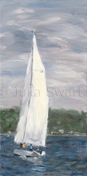 An oil painting of a sailboat of the coast of Boothbay Maine by Julia Swartz