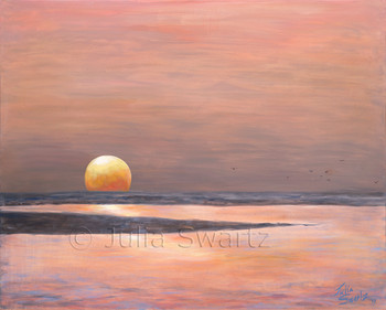 A beautiful sunset at a beach in Marco Island FL painted with oil on canvas by Julia Swartz.