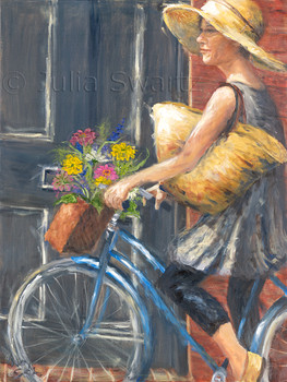 A lady wearing a straw hat on a bicycle returning from Central Market in Lancaster with her shopping bag and bouquet of flowers. A Julia Swartz oil painting.
