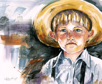 A watercolor painting of an Amish boy in his straw hat by artist Julia Swartz.