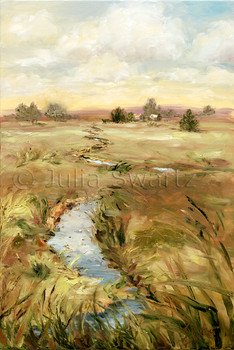 A landscape oil painting of a meandering stream flowing through a meadow by Julia Swartz