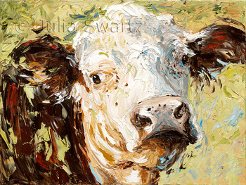 A close up view oil painting of a Hereford Cow face painted in oil with a palette knife by Julia Swartz.