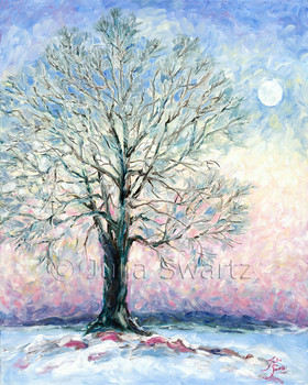 This oil painting captures the extraordinary moon rise in mid winter by Julia Swartz.