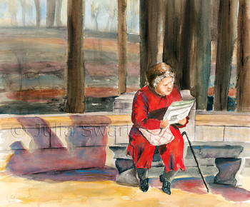 A watercolor painting of an elderly lady reading the newspaper in central park NY by Julia Swartz