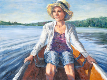 A portrait painting of a young lady wearing a straw hat riding in the front of a canoe by Julia Swartz.