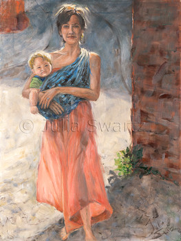 A portrait of a young lady and her baby going to Central Market to shop by Julia Swartz.