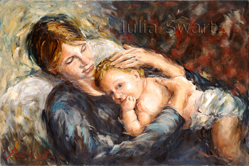 An oil painting of a Mother holding a baby by Julia Swartz