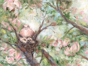 A mourning Dove sitting on a nest with two baby doves painted with oil on canvas by Julia Swartz Lancaster PA