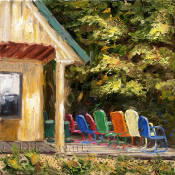 A landscape oil painting of a mountain cabin porch with a row of antique metal chairs by Julia Swartz.