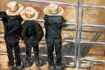Three little Amish boys, dressed just like the men, were sitting on a fence, with their boots on because it was very muddy at the sale that day. You can almost feel the muddy earth on their boots. Here again, Julia represents the simple life of the Amish without romanticizing it. An oil painting on canvas by Julia Swartz.