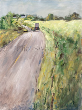 Oil painting of an Amish buggy on a country road by Julia Swartz.