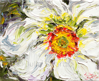 This palette knife oil painting is a closely-cropped and highly textured study of the Narcissus flower.