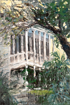 An impressionistic oil painting of a beautiful porch in New Orleans by Julia Swartz, Lancaster PA