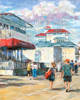 An oil painting of the Ocean City New Jersey boardwalk with Flanders in the background by Julia Swartz.