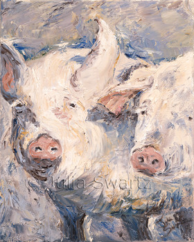 A close up impressionistic oil painting of two pigs by Julia Swartz Lancaster PA