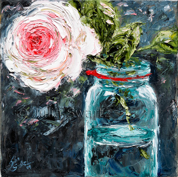 An oil painting of a rose in an old green mason jar by Julia Swartz