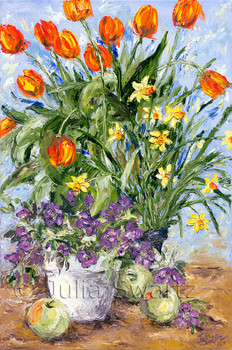 Orange tulips, Yellow daffodils and purple violets in a crock with green apples sitting about painted in oil on canvas. Painted by Julia Swartz