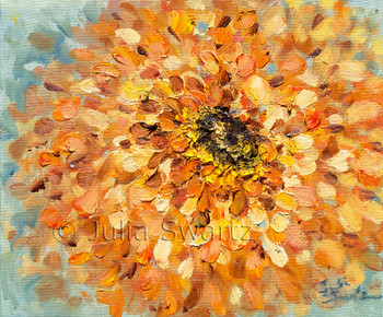 A large closeup impressionistic oil painting of a orange Zinnia flower by Julia Swartz