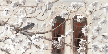 Looking out the window of Julia's gallery through the white blooming trees to the windows of the Fulton Theatre across the street.  An oil painting on canvas by Julia Swartz.
