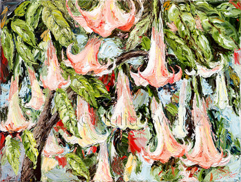 Oil painting of Angel Trumpet Flowers by Julia Swartz