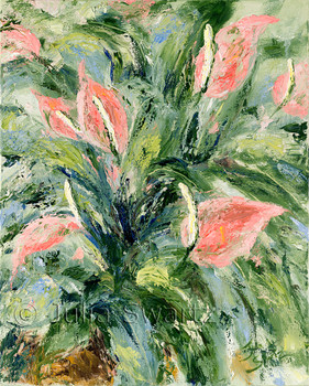 An impressionist oil painting of Peace Lily flowers by Julia Swartz Lancaster PA