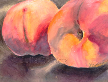 This still-life watercolor painting of Peaches by Julia Swartz