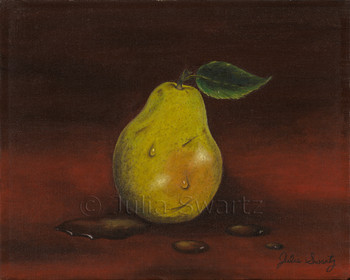 An Oil painting of a single green pear by Julia Swartz
