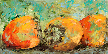 A still life fruit oil paintings of Persimmons by Julia Swartz, Lancaster PA.