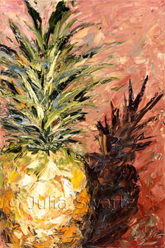 A close up still life oil painting of a Pineapple painted with oil on canvas by Julia Swartz using palette knife.