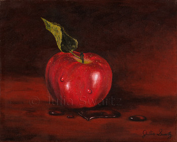 An Apple Oil painting on canvas by Julia Swartz.