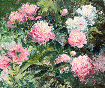 A pink Peonies flower oil painting on canvas by artist Julia Swartz.