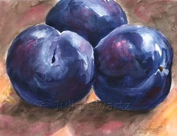 This still-life painting of purple Plums is by Julia Swartz.