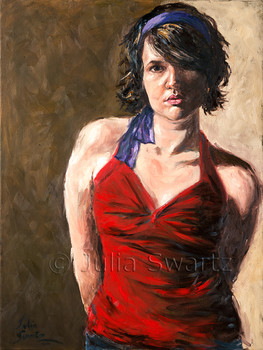 This oil painted portrait is just one of several inspired by Julia's friend, Leah.