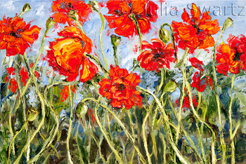 Impressionistic oil painting of Poppies with oil on canvas by Julia Swartz.