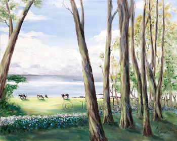 An Original Landscape with Oil paintings with cows by the sea behind an old stone fence by Julia Swartz In Ireland.