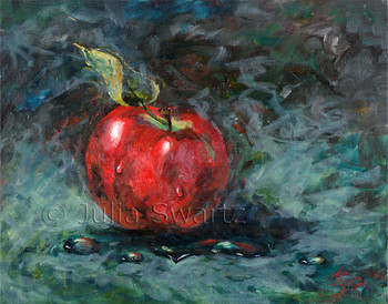 A Red Apple oil painting on canvas study 2 by Julia Swartz