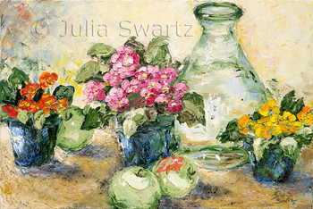 A still life impressionistic oil painting of primrose, apples and a glass vase by Julia Swartz