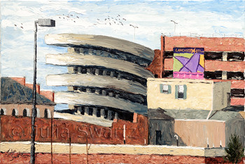 Julia. An oil painting of the Prince St. Parking garage by Julia Swartz.